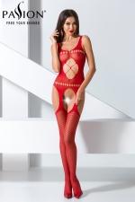 Combinaison BS057 - Rouge - Combinaison sexy rouge extensible à jarretelles.
