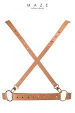 Harnais X marron - Maze - Harnais faux cuir (coloris marron)100% Vegan d'inspiration BDSM, en forme de X dans le dos, à porter sur ou sous vos vêtements.