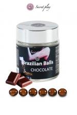 6 Brazilian Balls - chocolat - La chaleur du corps transforme la brazilian ball en liquide glissant au parfum chocolat, votre imagination s'en trouve exacerbée.