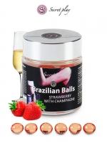 6 Brazillian balls - fraise & champagne - La chaleur du corps transforme la brazilian ball en liquide glissant au parfum fraise & champagne, votre imagination s'en trouve exacerbée.