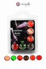6 Brazillian balls parfums variés - La chaleur du corps transforme la brazilian ball en liquide glissant parfumé, votre imagination s'en trouve exacerbée.