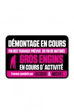 Plaque de porte J&M Démontage en cours - Plaque de porte humoristique Jacquie et Michel, en PVC, avec message: Démontage en cours...