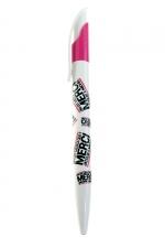 Stylo Jacquie et Michel - stylo à bille blanc et fuchsia  (écriture noire) aux couleurs de la marque Jacquie & Michel.