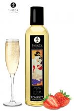 Huile de massage érotique - Vin pétillant à la fraise - Huile de massage érotique  Romance au vin pétillant et à la fraise pour éveiller les sens et la réceptivité amoureuse, par Shunga.