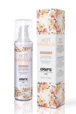 Huile de massage chauffante vanille - Huile de massage chauffante et gourmande au goût vanille, flacon de 50 ml, marque Exsens.