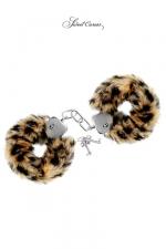 Menottes de poignets Tigre - Paire de menottes Glamour en métal, recouvertes d'une fourrure tigrée, par Sweet Caress.