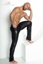 Pantalon STRONGER Clipped - Pantalon moulant taille basse en wetlook mat, décoré de bandes de vinyle brillant sur les cotés.