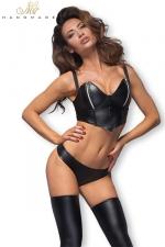 Top sexy F165 zips argent - Top sexy en wetlook avec des zips argentés sur chaque sein.