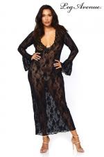 Robe longue stretch Queen Deep-V - Robe longue dentelle queen size, elle met en valeur vos rondeurs.